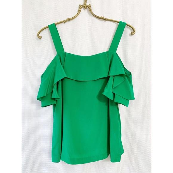 J.Crew silk green ruffle cold shoulder top